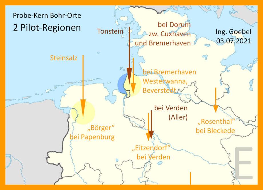 2 Pilot Regionen für HLW Endlager Sicherheits-Untersuchungen