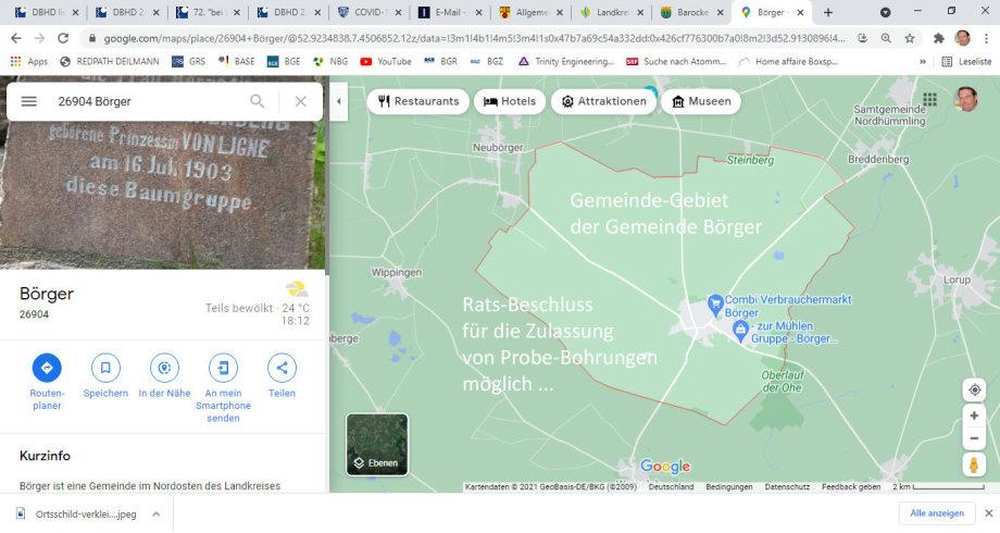 Gemeindegebiet der Gemeinde Börger - Es gibt dort einen Gemeinderat