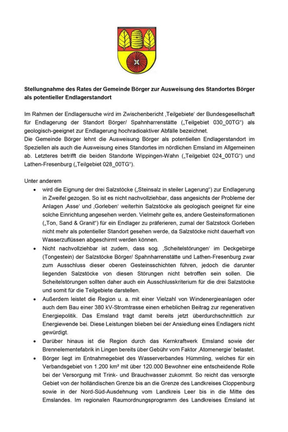 Seite 1 -Endlager_Stellungnahme-des-Gemeinderates-Boerger zur Endlager Standort-Auswahl