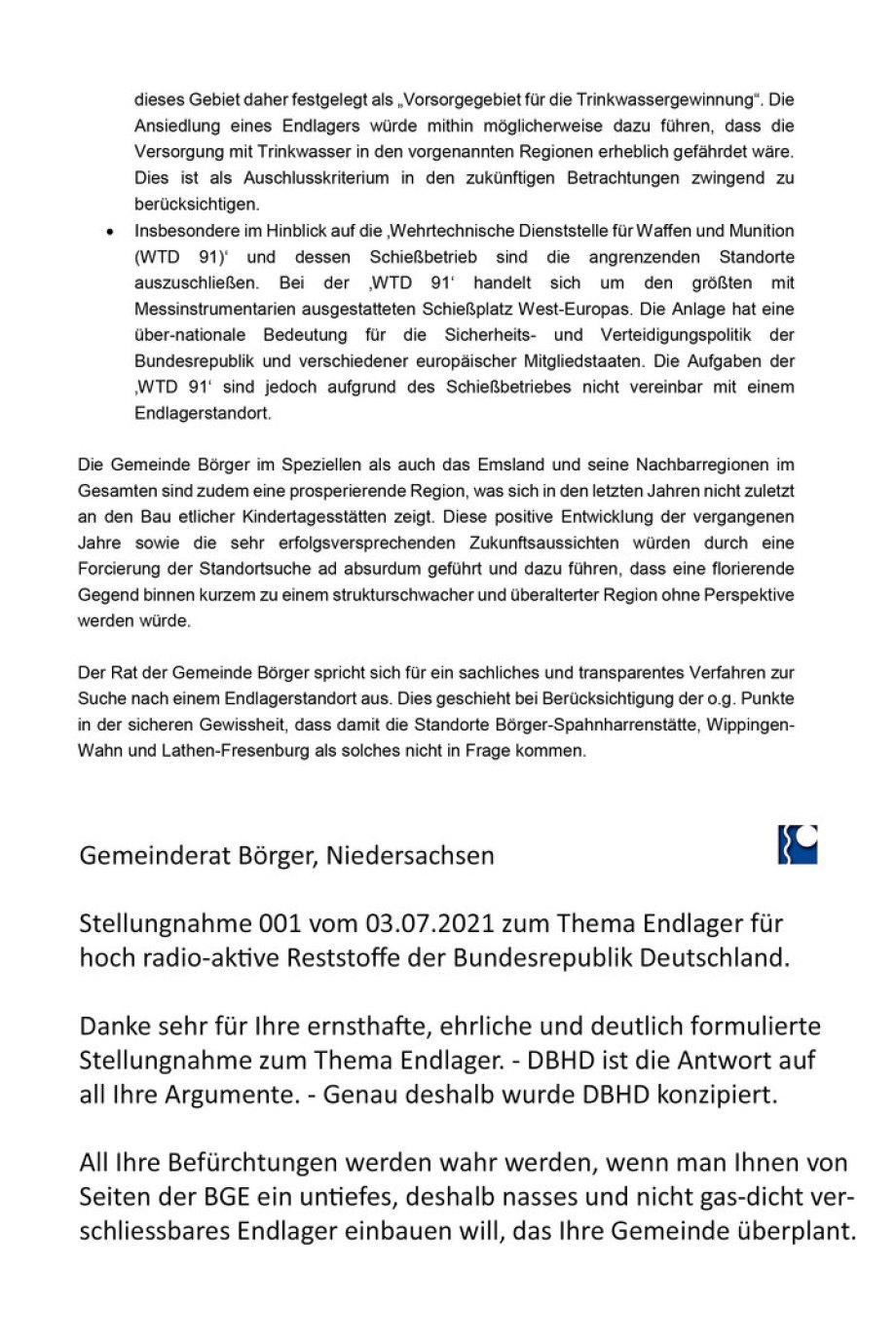 Seite 2 -Endlager_Stellungnahme-des-Gemeinderates-Boerger zur Endlager Standort-Auswahl
