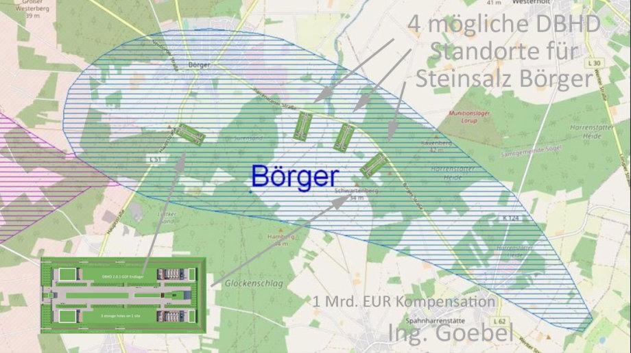 eine ungefähr maßstäbliche Darstellung wie DBHD in das vorhandene Gelände eingepasst werden kann wenn die Geologie gut ist