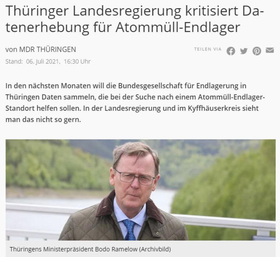 """Thüringen war ENTSETZT über die BGE Entscheidung für 2 """"Methoden-Regionen"""" in Thüringen"""