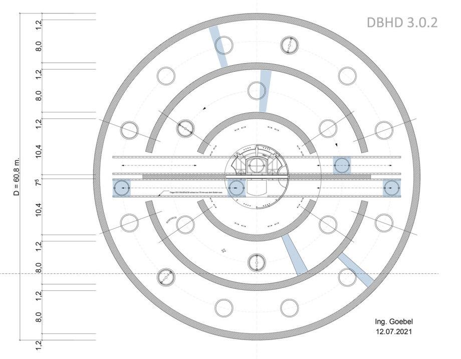 Grundriss Verteil- und Absenk-Bergwerk unten - Endlager DBHD 3.0.2
