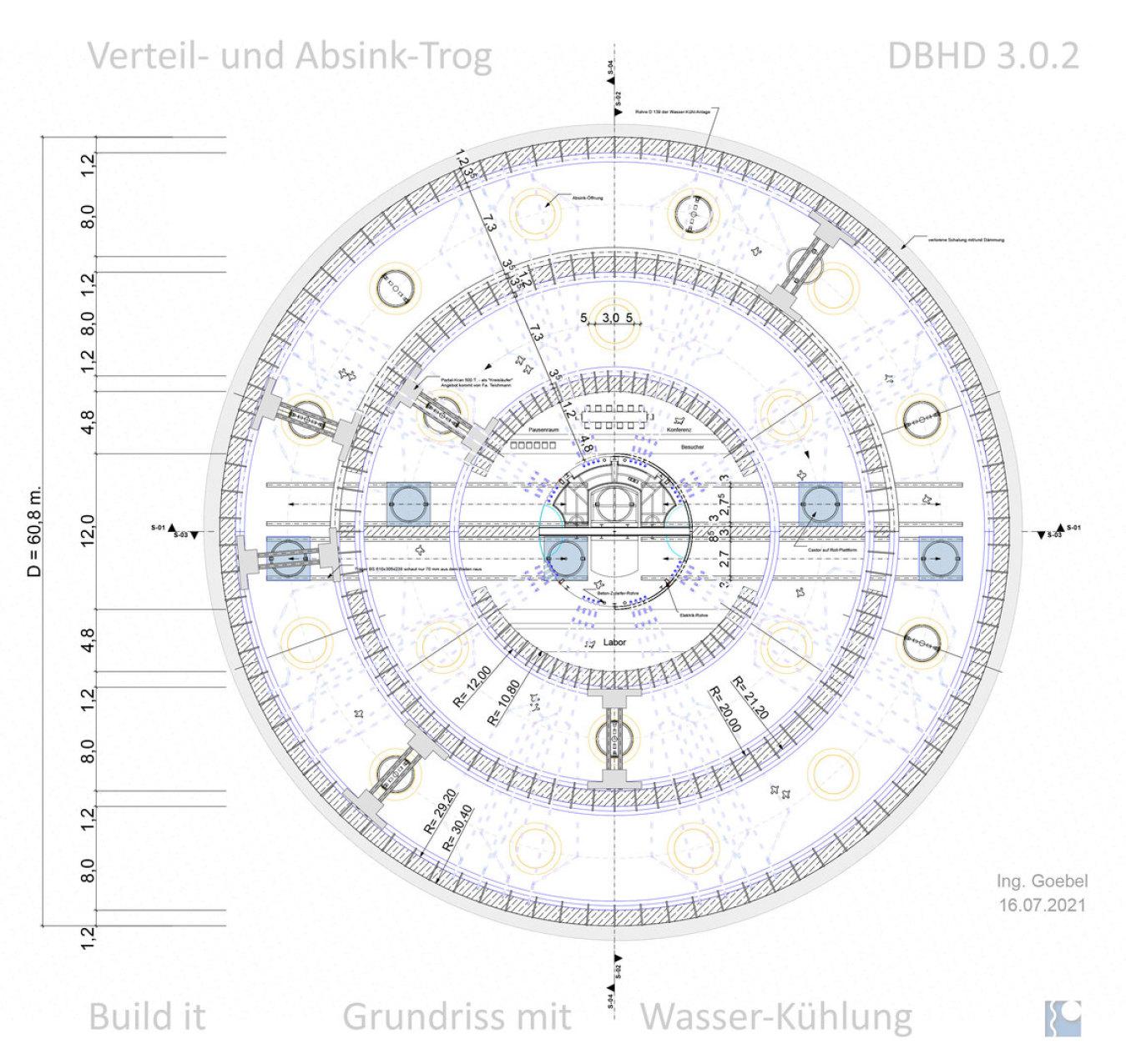 Grundriss Verteil- und Absink-Trog DBHD 3.0.2 unten - 1x mit 1x ohne Wasserkühl-Rohre