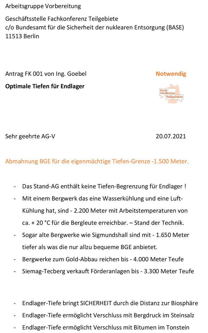 Kritik an der BGE GmbH Peine - deren eigenmächtige Tiefengrenze ist rechtswidrig