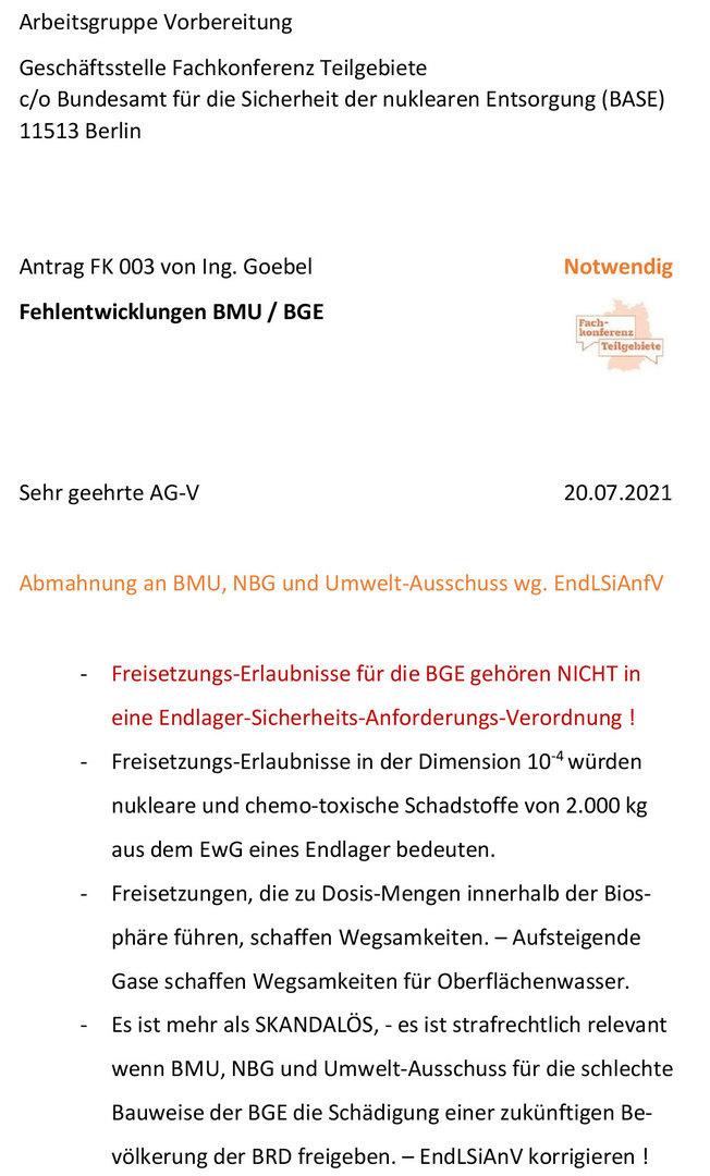 Kritik an BMU Bonn, NBG Berlin und Umwelt-Ausschuss Berlin - Freisetzungs-Erlaubnisse in der Endlager-Sicherheits-Anforderungs-Verordnung sind grundsätzlich falsch und strafrechtlich relevant