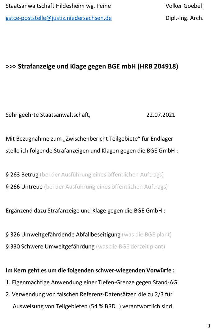 Seite 1 von 4 - Strafanzeige und Klage gegen die BGE GmbH - Verfasser Ing. Goebel