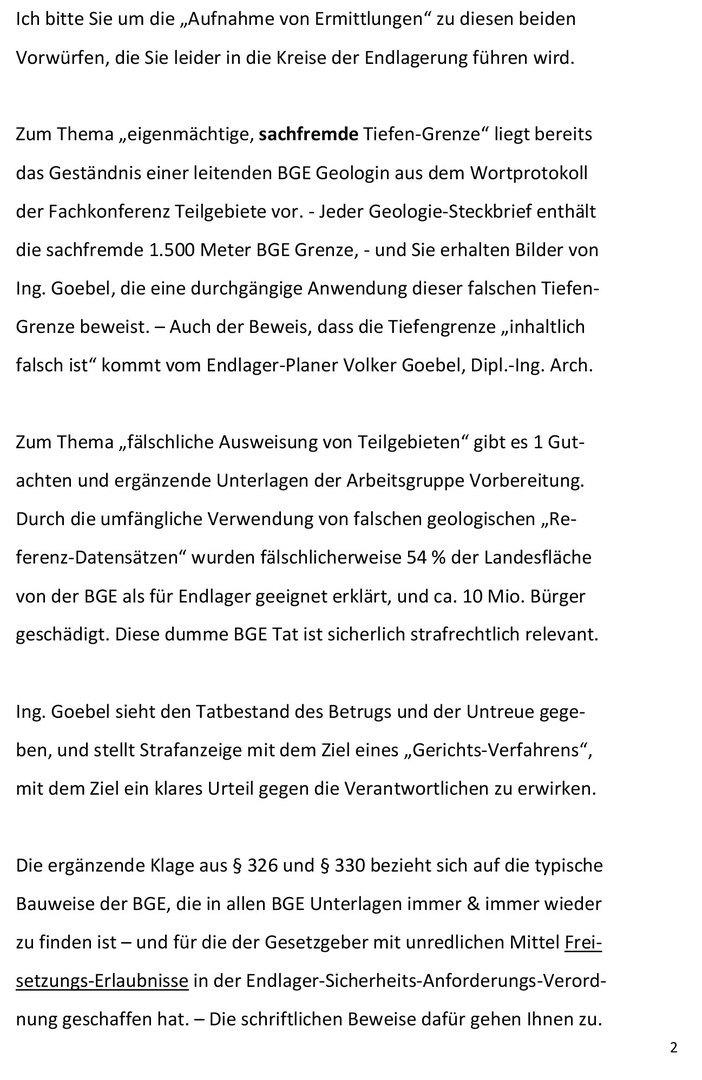 Seite 2 von 4 - Strafanzeige und Klage gegen die BGE GmbH - Verfasser Ing. Goebel