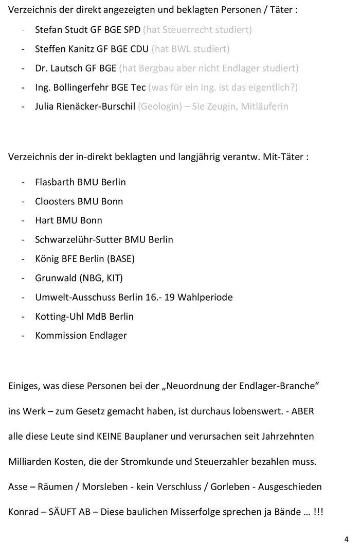 Seite 4 von 4 - Strafanzeige und Klage gegen die BGE GmbH - Verfasser Ing. Goebel