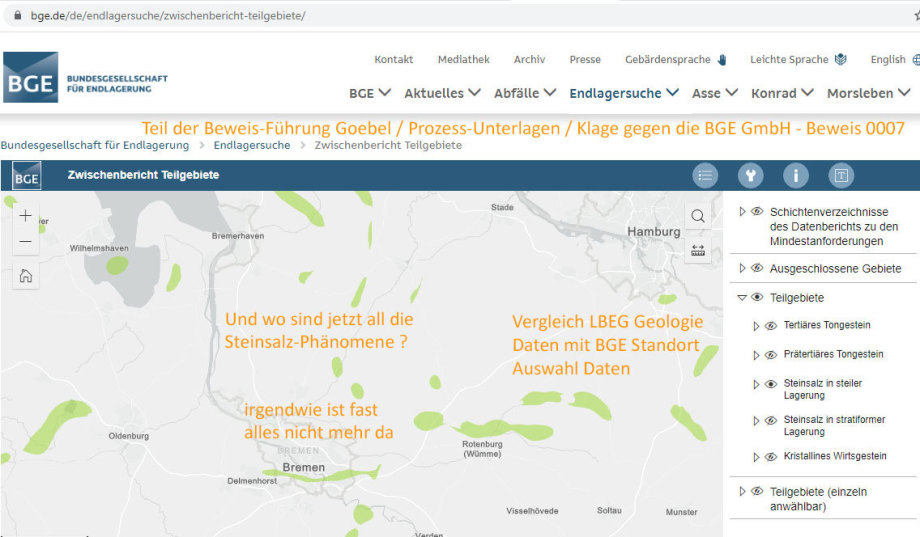 nummerierter Teil der Beweis-Führung im Gerichts-Verfahren gegen die falsche Standort-Auswahl der BGE GmbH