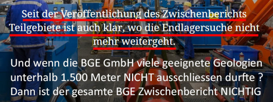 BGE Zwischenbericht ist nichtig - Es wurden geeignete Gebiete mit der sachfremden Tiefen-Grenze ausgeschlossen