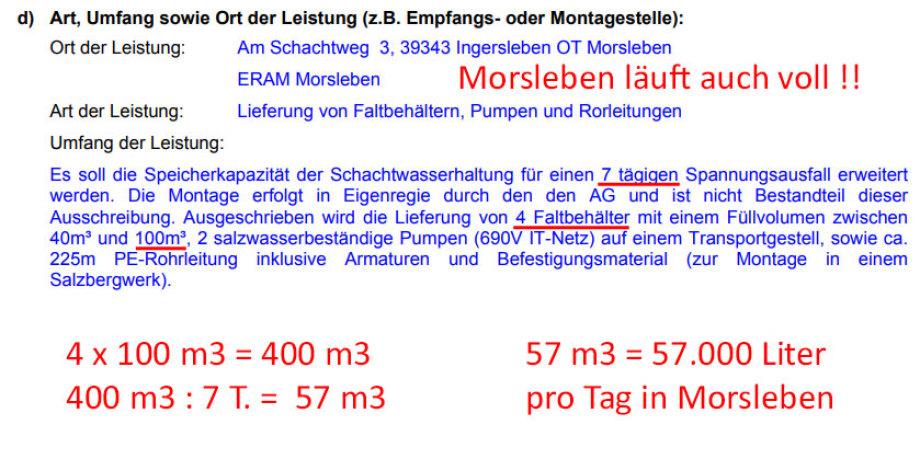 Morsleben - ca. 57.000 Liter Wassereinbruch pro Tag.