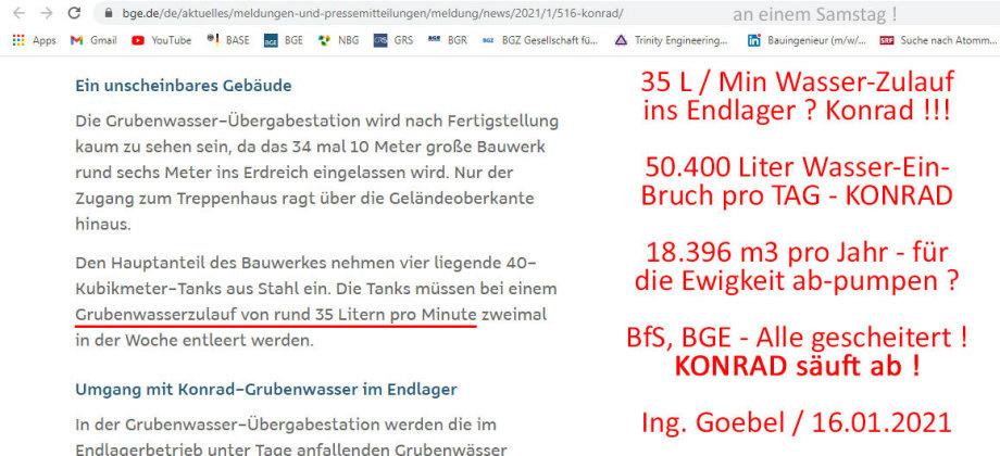 Endlager Konrad säuft ab - 50.4000 Liter Wassereinbruch pro Tag.