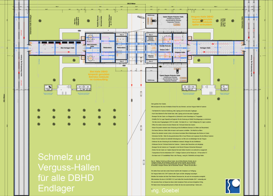 Vorschau-Bild - Schmelz- und Verguss-Halle für Castoren - Blei-Verguss für DBHD Endlager - Achtung : kann auch Umpack-Halle sein - die grossen Roboter blieben drin ...