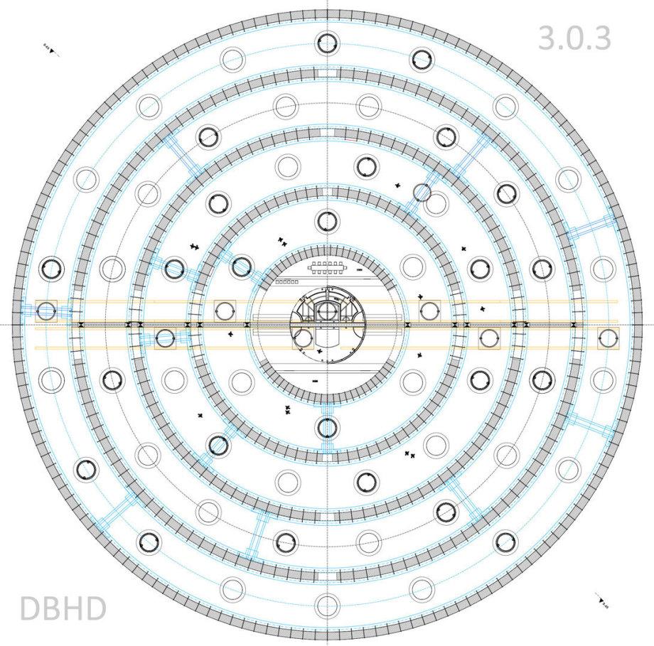 Grundriss DBHD 3.0.3 GDF Endlager - hier ohne Wasser-Kühl-Rohre