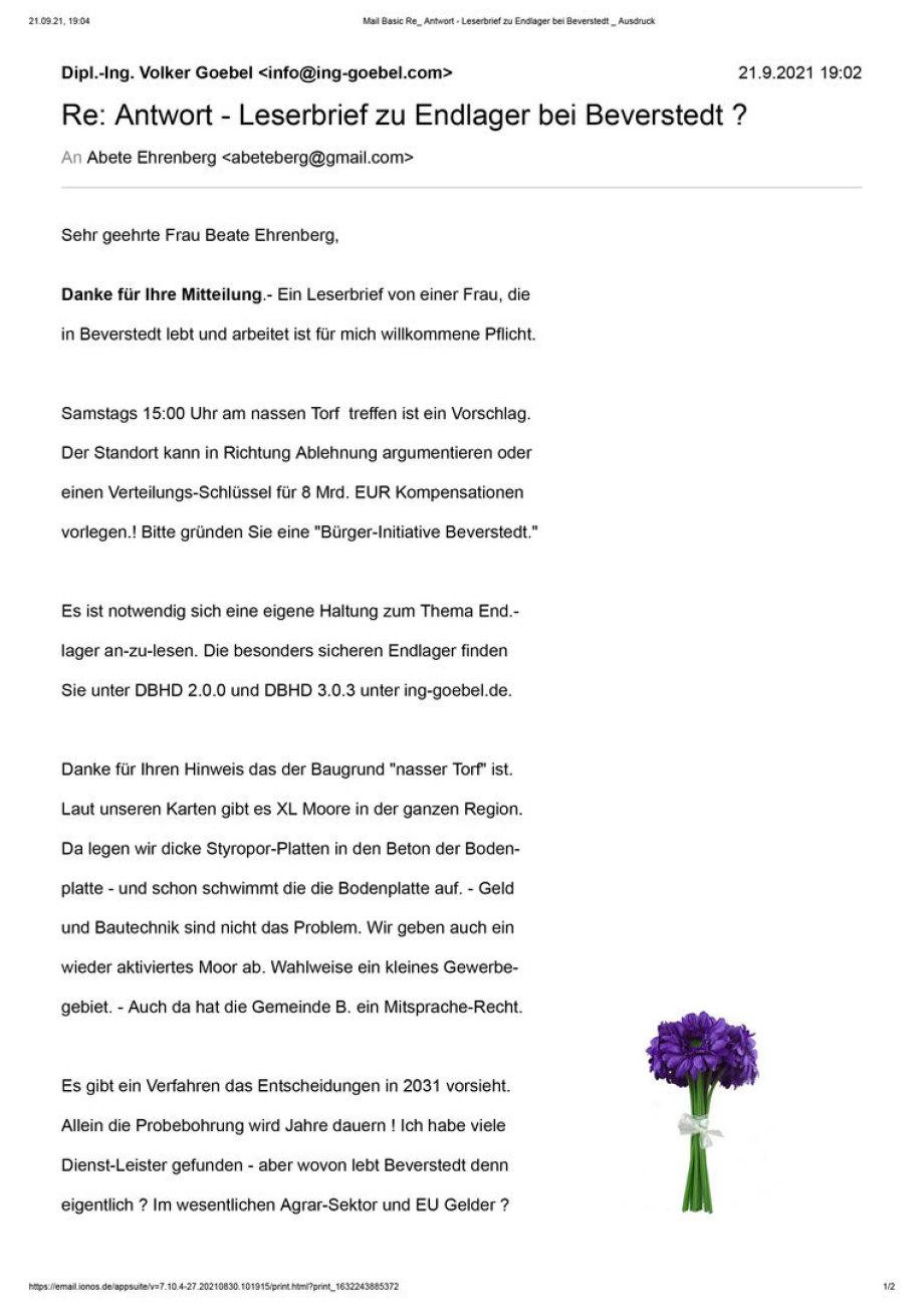 Antwort auf Leserbrief Beate Ehrenberg Beverstedt