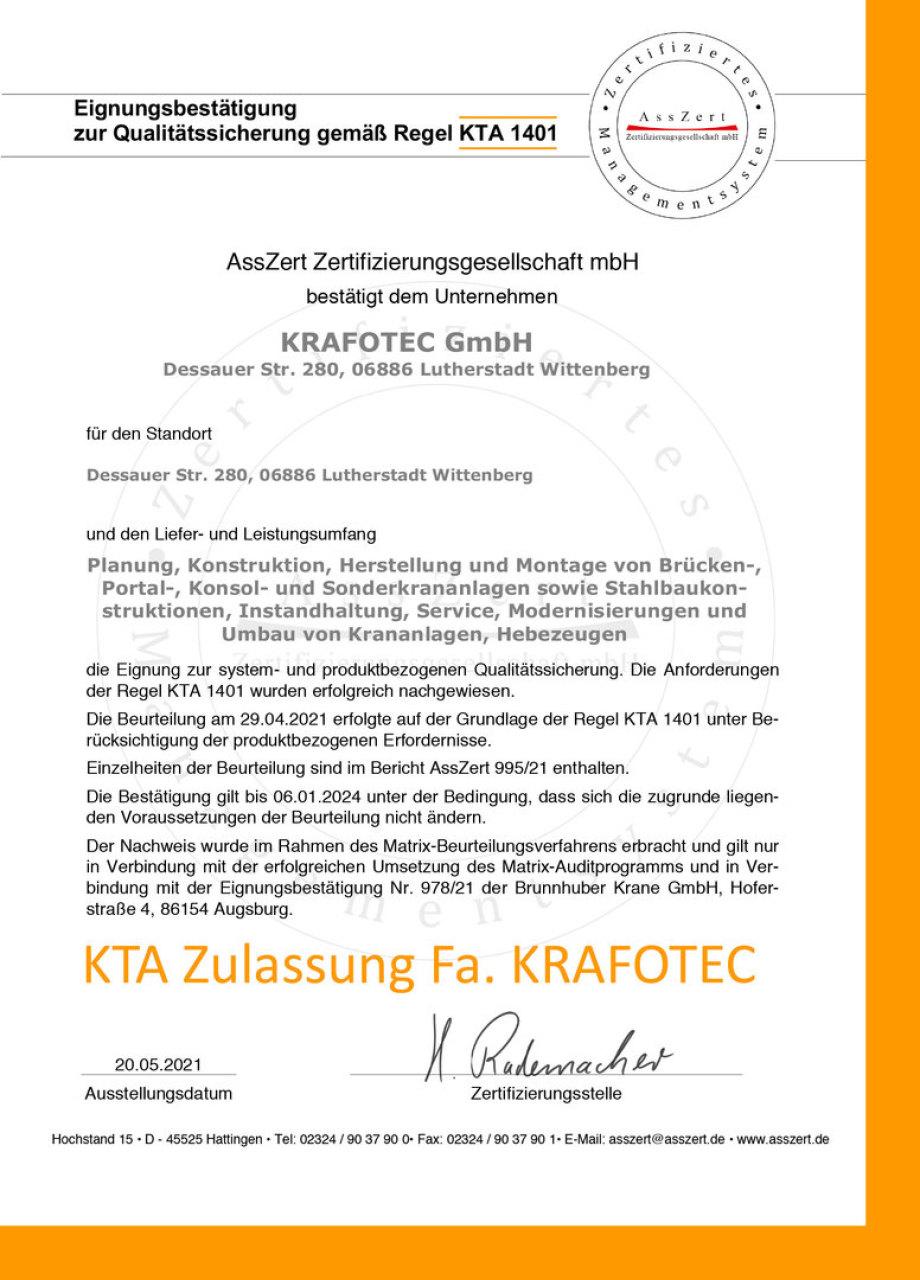 KTA Zulassung KRAFOTEC GMBH - - - KTA = Kerntechnische Anlagen