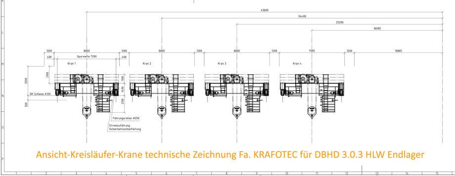 Ansicht Kreisläufer Krane 250 T. technische Zeichnung Fa. KRAFOTEC Wittenberg für DBHD 3.0.3 HLW Endlager