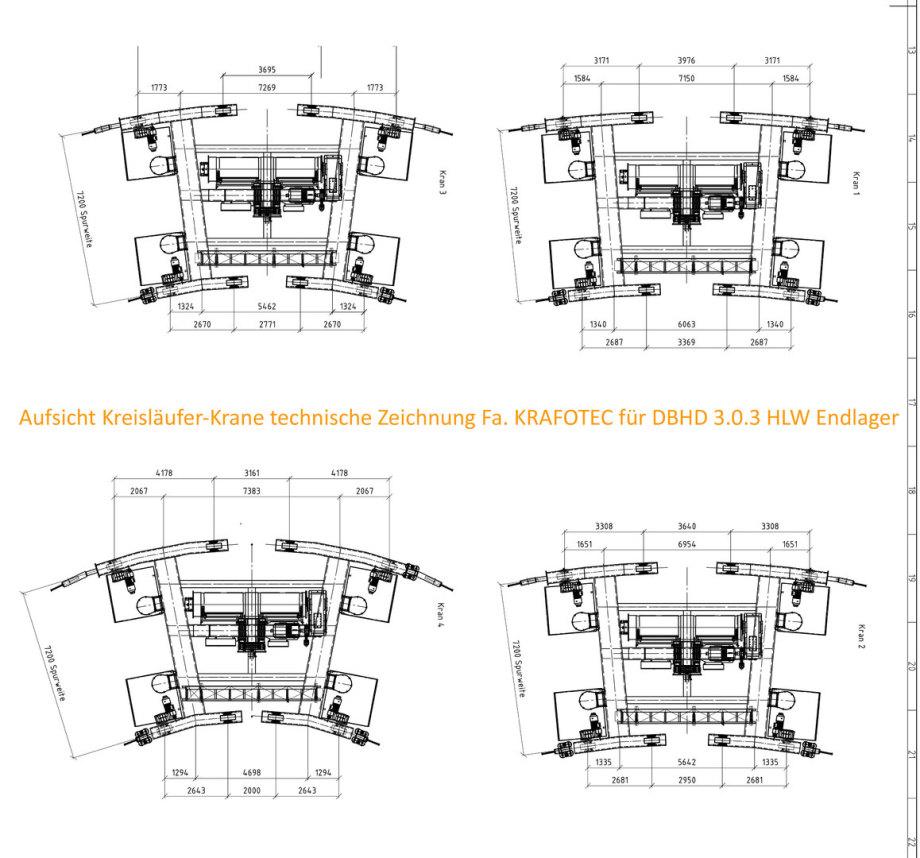 Aufsicht Kreisläufer Krane 250 T. technische Zeichnung Fa. KRAFOTEC Wittenberg für DBHD 3.0.3 HLW Endlager