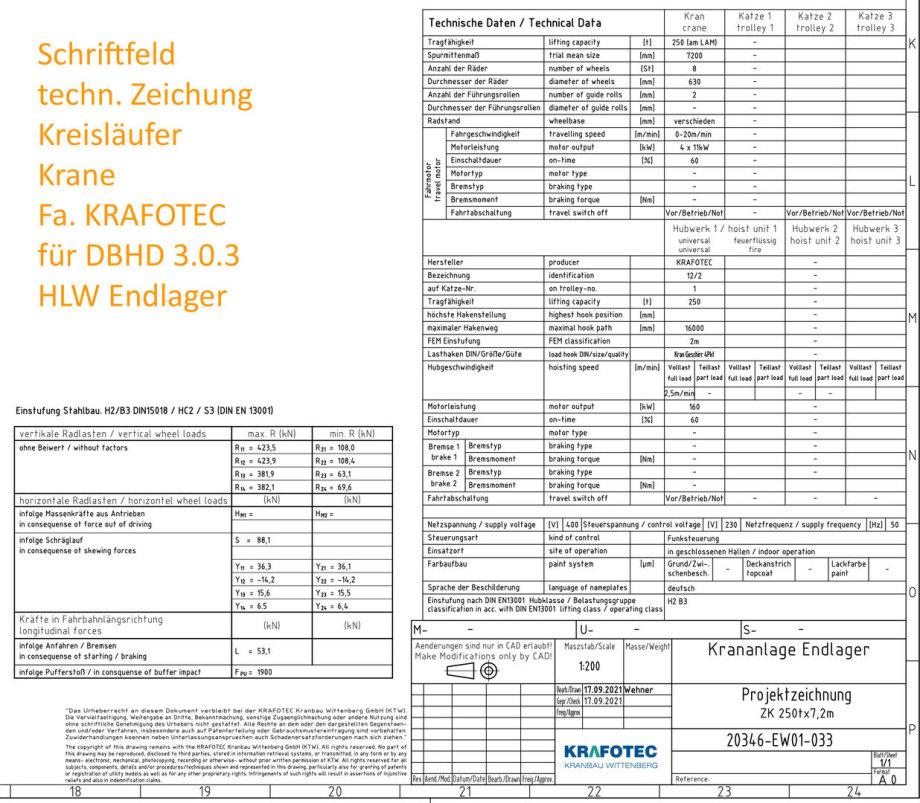 Schriftfeld Kreisläufer Krane 250 Tonnen technische Zeichnung Fa. KRAFOTEC Wittenberg für DBHD 3.0.3 HLW Endlager