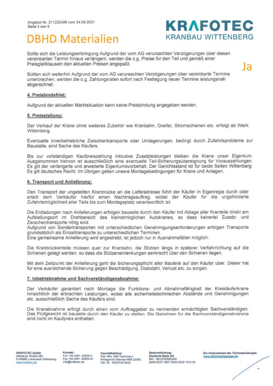 Angebot KTA Kreisläufer-Krane von Fa. KRAFOTEC - Teichmann Kranbau Gruppe - für DBHD 3.0.3 HLW Endlager DE und US