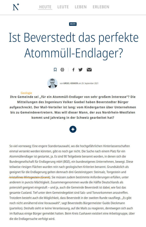 1-2_Artikel_Kikker_Nordsee-Zeitung-Endlager bei Beverstedt