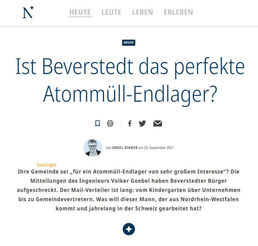 Titel Artikel Nordsee-Zeitung Red. Kikker zu DBHD Endlager-Vorschlag in der Top Geologie Beverstedt