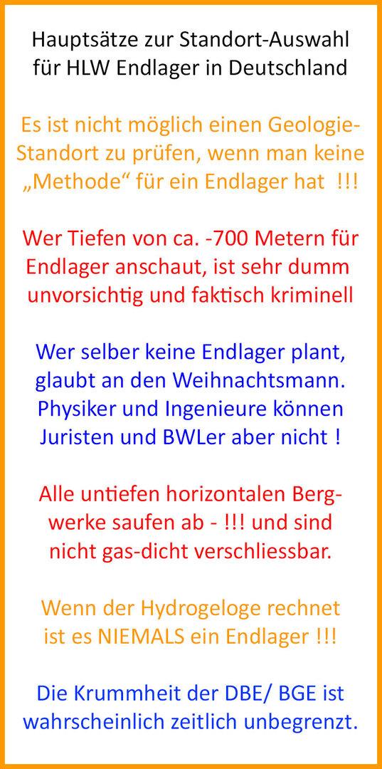 Hauptsätze zur Standort-Auswahl für HLW Endlager in Deutschland