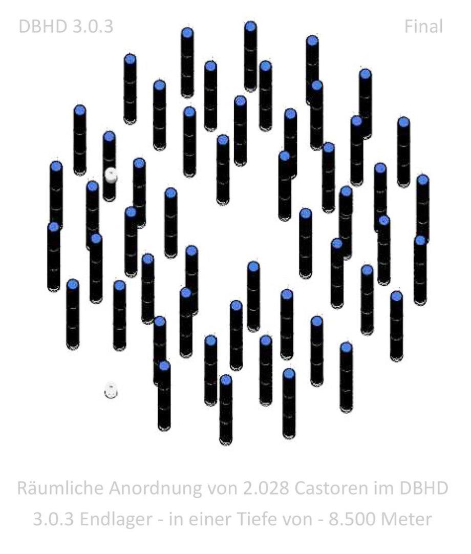 Räumliche Anordnung von 2.028 Castoren im DBHD 3.0.3 Endlager - in einer Tiefe von -8.500 Meter