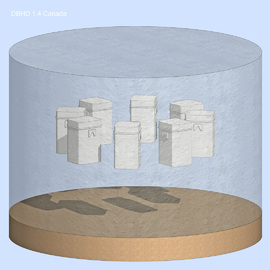 """3D of a single """"storage pellet"""" for DBHD 1.4 Canada in New Brunswick and Nova Scotia - we develop a nuclear high level waste repository for Canada - geological disposal in deep rocksalt"""