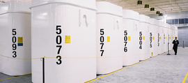typical white DSC container for spend Candu fuel Canada