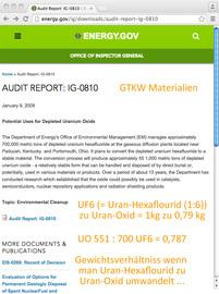 Gewichts-Faktor 1 zu 0,79 - bei Umwandlung von UF6 zu U3O8