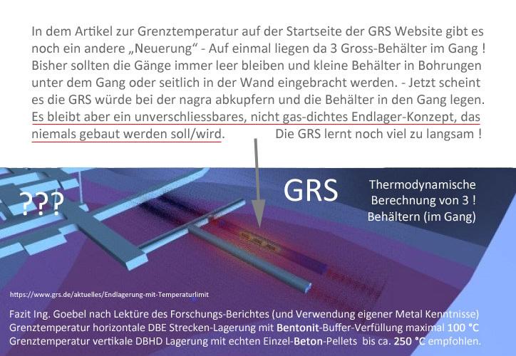 die GRS Wissenschaftler sind bestimmt keine Bauplaner - macht wissenschaftliche Wissenschaft - aber lasst die Finger von der Bauplanung bitte ... Es ist ja nicht auszuhalten was ihr da zusammen-faselt