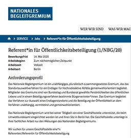 Interessantes Stellenangebot vom NBG Berlin / UBA Dresden