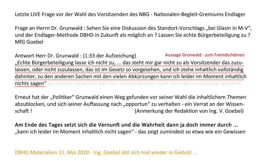 Grunwald leugnet Endlager Standort Glasin und Methode DBHD