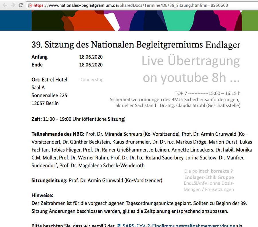>>> Ankündigung_Live-Sitzung_39. NBG_Nationales-Begleit-Gremium-Endlager-DE - EndLSiAnfV offen ! - #nbg #nationalesbegleitgremiumendlagerde #endlagerhlw #gdf #nuclearrepository #Germany