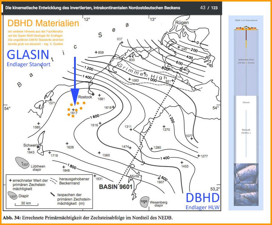 geologische Karte mit HLW Endlager Standorten DBHD bei Glasin