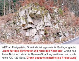 Granit - Festgestein - Kristallin - immer klüftig - nie gas-dicht verschliessbar