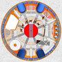 Grundriss Bohr-Durchmeser 12 Meter - Castor rot - Kühlung blau - Beton-Rohre - Aufzug - Nottreppe - Zwischen-Podest - Bohrungs-Wandung Beton Monocasing