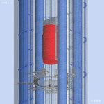 Röntgen-Blick auf Castor am Dyneema Seil im ausgebauten DBHD Schacht.-Bergwerk zur Endlagerung