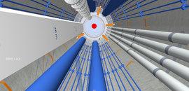 >>> Glück auf - Blick nach oben im DBHD - Zugangs-Schacht D=12 Meter - blau Luftkühlung und Wasserkühlung - grau Beton-Liefer-Rohre, Aufzug, Not-Treppe, orange Zwischen-Ebenen, rot Castor HLW Container - Ein Bild aus der Ausführungs-Planung das eine ferti