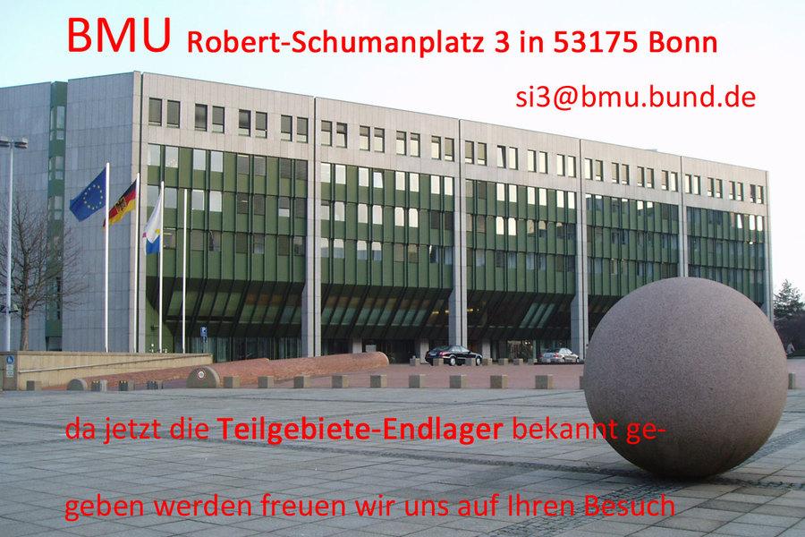 >>> BMU Robert-Schumanplatz 3 in 53175 Bonn da jetzt die Teilgebiete-Endlager bekannt ge- geben werden freuen wir uns auf Ihren Besuch #BMU #Teilgebiete #Endlager - si3@bmu.bund.de