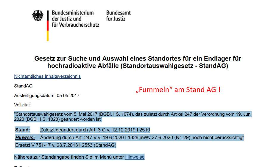 Ständiges Fummeln am Stand AG von Seiten der Behörden völlig falsch