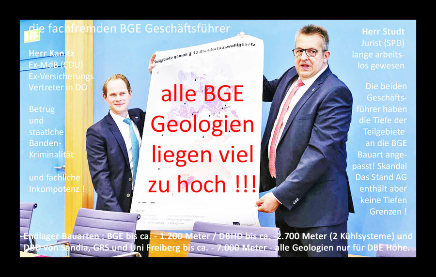 Alle BGE Geologien Teilgebiete liegen viel zu hoch - NACH-ARBEITEN