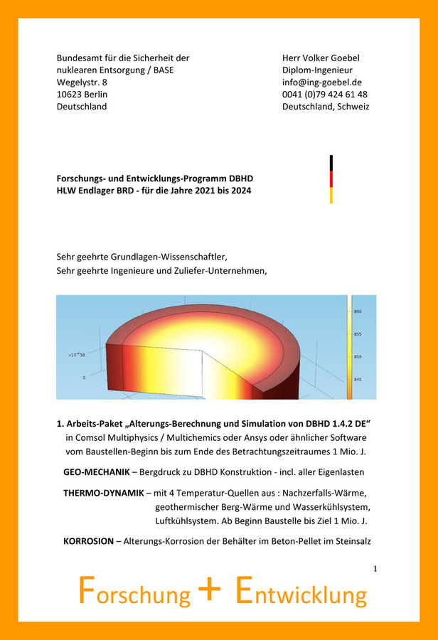 Forschung und Entwicklungs-Programm für DBHD Endlager