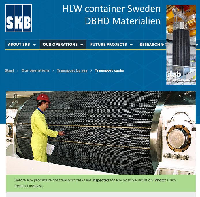 Der HLW Container der Schweden ist dem Castor ähnlich