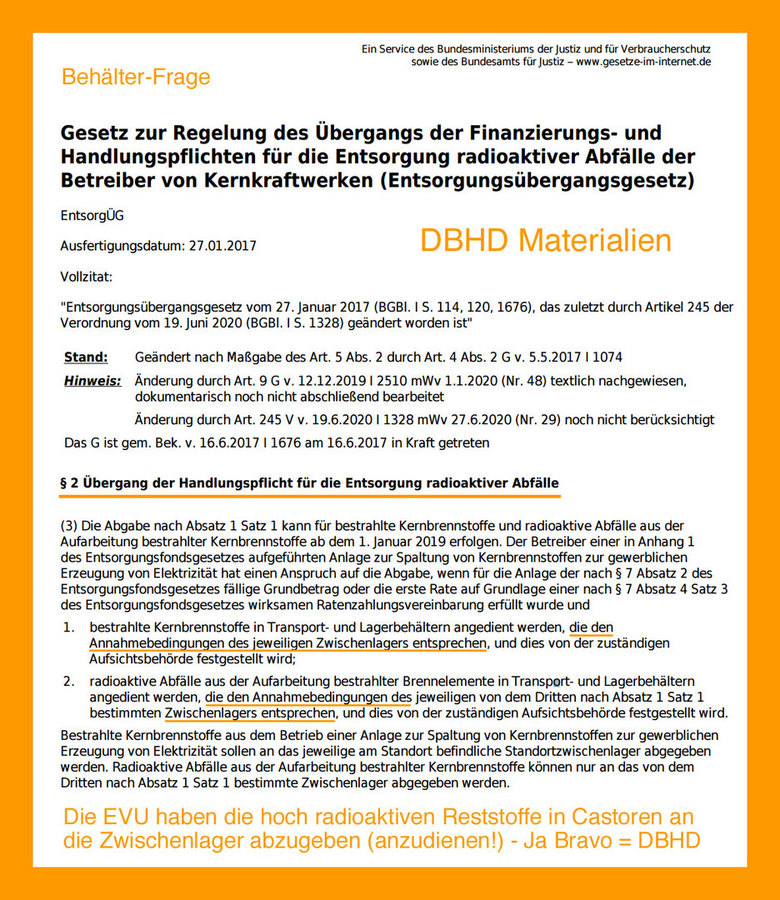 ">>> The nuclear energy companies have to ""hand over"" all HLW in Castor  Containers by law - with 2.047 Castors - each app. 2,1 Mio. € = 4,3 Mrd. €    #Castors #Container #DBHD #GDF #Nuclearrepository #Germany"