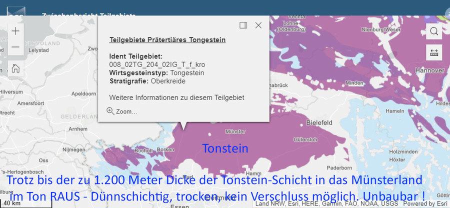 Wie sich das Teilgebiet Münsterland in der geologischen Karte der BGE darstellt