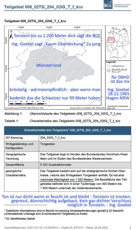 Ing. Goebel bewertet Teilgebiet im Münsterland als für DBHD ungeeignet