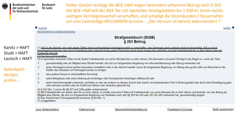 Strafanzeige gegen die BGE wg. Eigennutz bei Geologie-Daten